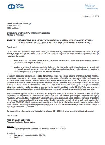 Javno pismo zunajparlamentarne stranke Dobra država zaradi zavajanja RTV Slovenija v merjenju javnega mnenja agencije Ninamedia. (Foto: Nova24tv)