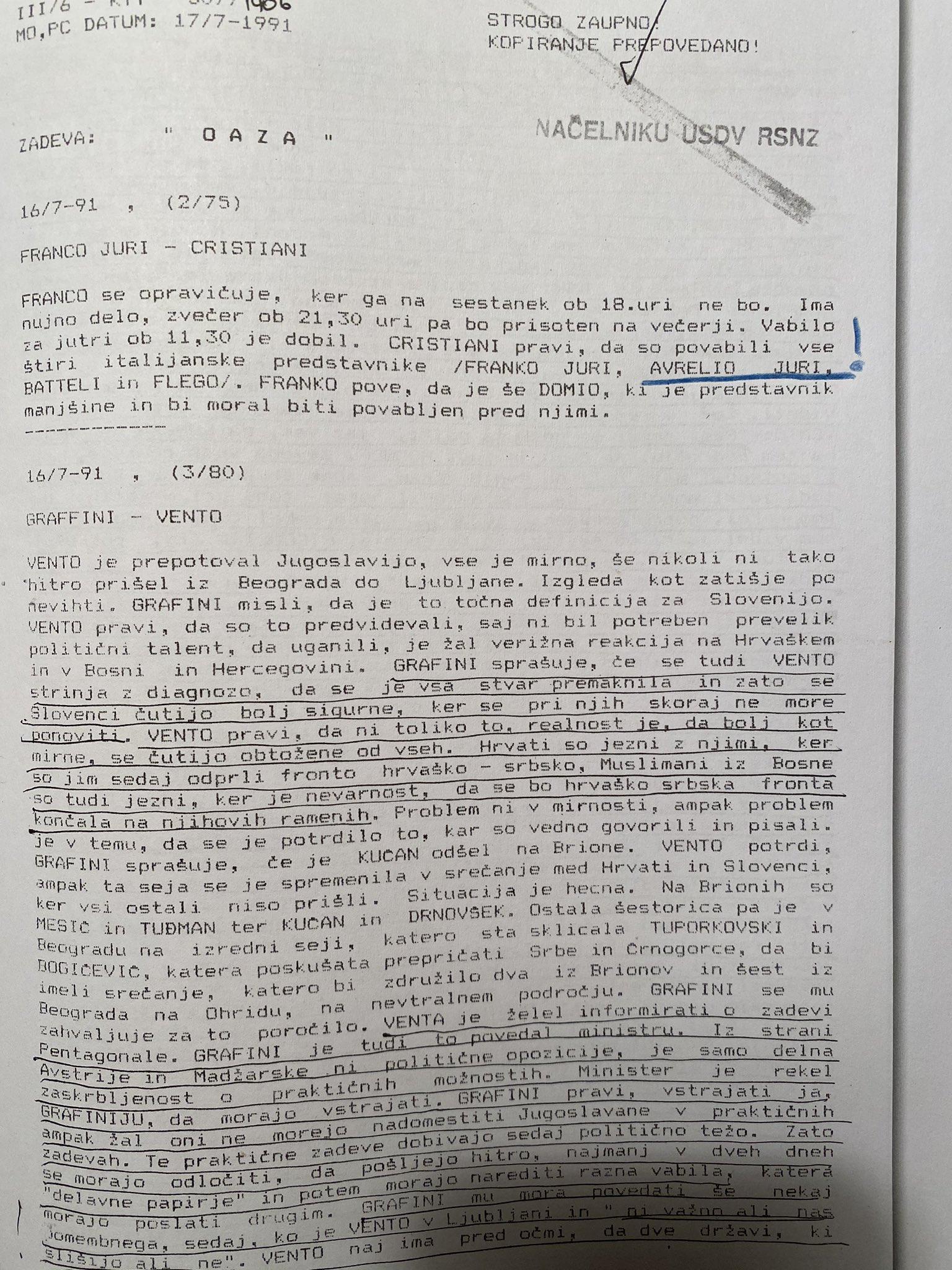 Dokument številka 2 razkriva, da so Jurijevi obtožili Slovenijo, da je odgovorna za kasnejšo vojno stanje v bivših republikah Jugoslavije. (Foto: Twitter)