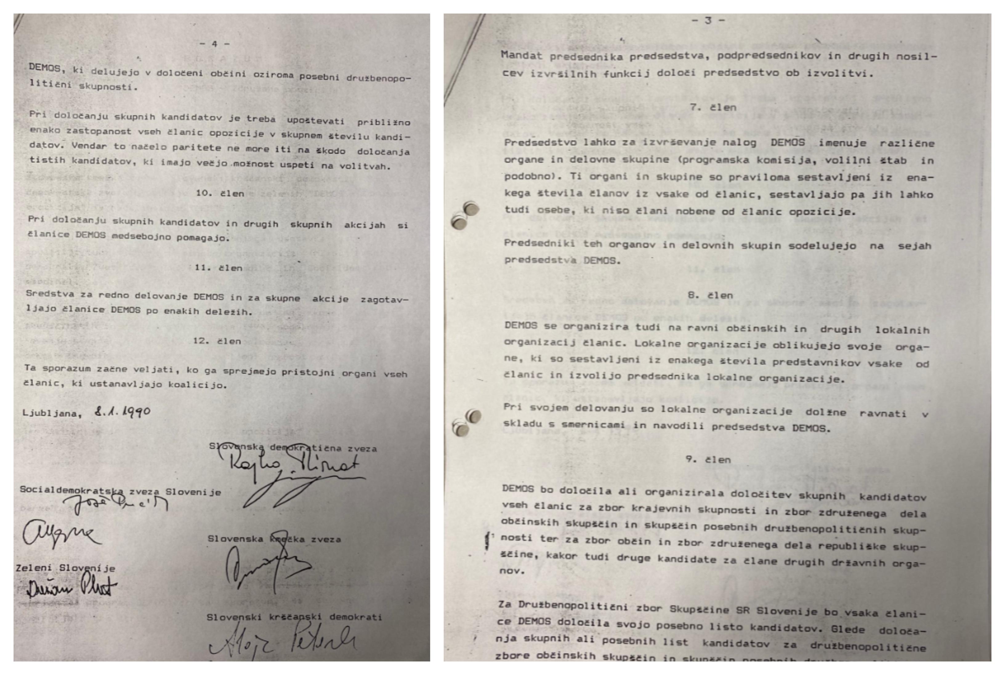 Tretja in četrta stran zgodovinskega sporazuma o nastanku volilne opozicije Demos. (Foto: Twitter)