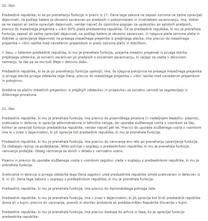Ugodnosti, ki jih ima predsednik države po prenehanju svoje funkcije. (Foto: Ustava RS)