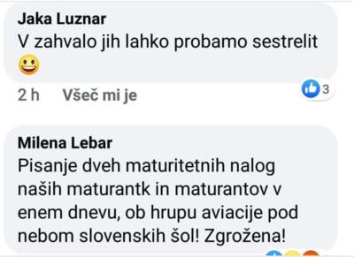 Komentarji na današnji polet (Vir: Facebook)
